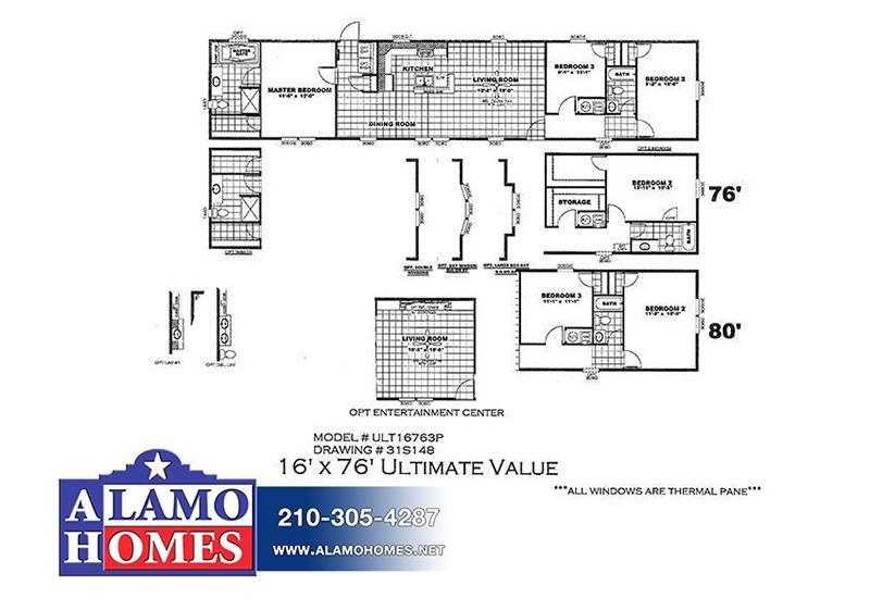 Ultimate Value ULT16763P Mobile Home Branded Floor Plan
