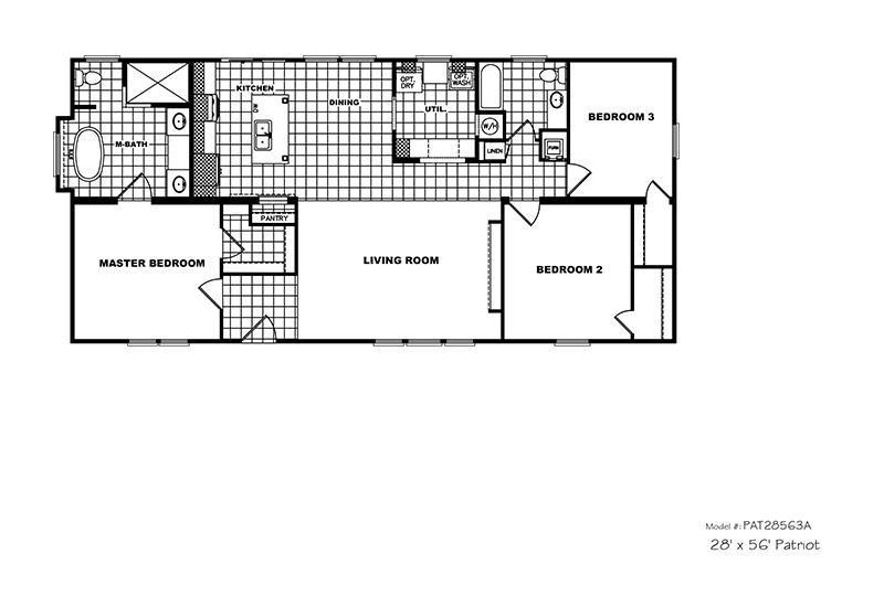Picture Of CMH Patriot PAT28563A Mobile Home Floor Plan