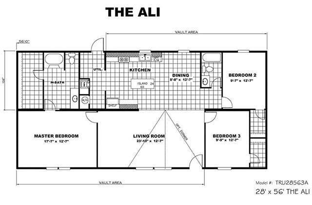 Picture Of TruMH Ali Mobile Home Floor Plan. TruMH   Ali   Thrill   3 Bed 2 Bath Double Wide Mobile Home For Sale