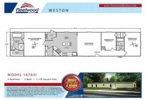 Fleetwood Weston 16763I Mobile Home Floor Plan