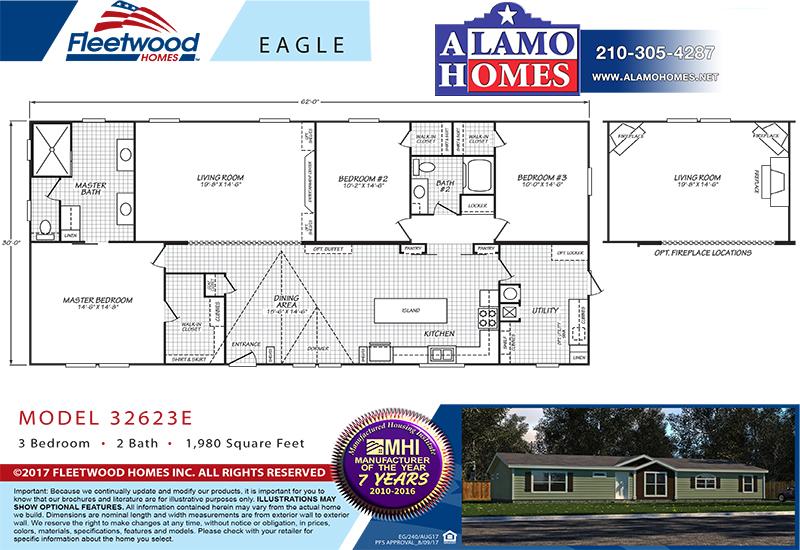 Fleetwood Eagle 32623E Mobile Home Branded Floor Plan