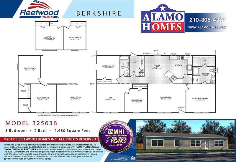 Fleetwood Berkshire 32563B Mobile Home Branded Floor Plan